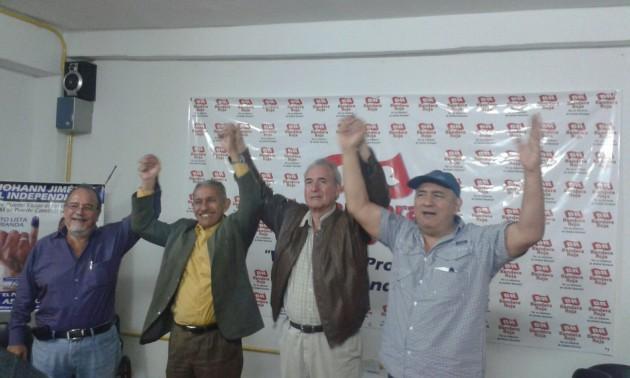 De izquierda a derecha Luis Fuenmayor Toro, candidato principal voto lista; Pedro Véliz, candidato suplente por el circuito 3; Marco Torres Velasco, candidato principal por el circuito 2, y Pablo Medina, candidato principal por el circuito 3. Todos presentes en acto electoral convocado por Bandera Roja.